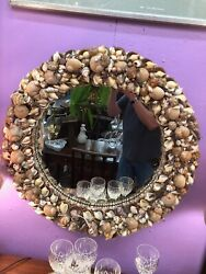 Vintage Round Sea Shell Clustered Frame 30andrdquo Mirror Various Species And Sizes C1950