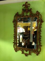 Georgian Rococo Gold Giltwood Carved Frame Mirror Plumed Crest Crown Italy C1920