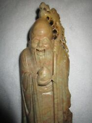 Antique Chinese Shou God Of Longevity Hand Carved Soapstone Sculpture C1900