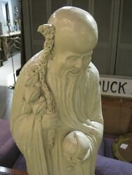 Vintage Chinese Diety Shou Lao Sculpture Large Cast Metal By Austin Production