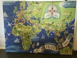Air France Vintage Route Travel Canvas World Pictorial Map- Made In Us- Numbered