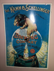 Vintage Tin Sign-the Kamm And Schellinger Brewing Company Mishawaka Indiana Vg Con