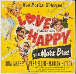 Love Happy Original Vintage Old Six Sheet Movie Film Poster Marx Brothers Grouch
