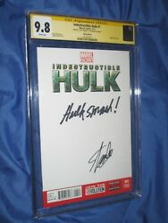 Indestructible Hulk 1 Cgc 9.8 Ss Signed And Hulk Smash Quote By Stan Lee