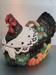 Rare - Fitz And Floyd 1993 Harvest Farm Thanksgiving Hen Tureen And, Ladle Read