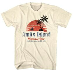 Jaws Vintage Amity Island Menand039s T-shirt Welcomes You Shark Fin Movie Merchandise