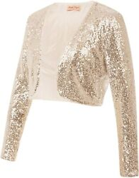 Belle Poque Womenand039s Sequin Jacket Long Sleeve Open Front Glitter Cropped Blazer