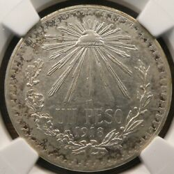 1918 Mexico 1 Peso .800 Silver Ngc Au Details Key Date 2 Years Km 454 C406