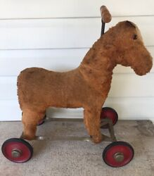 Antique Brown Horse On Wheels Mohair Vintage Wood Handle Iron Frame