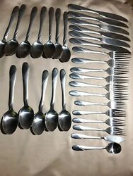 Cambridge Swirl Sand Stainless Flatware Place 30 Set Setting Forks Spoons Knife