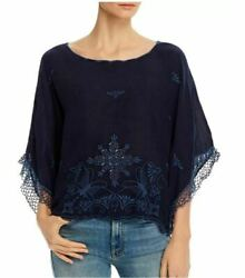 Bnwt Johnny Was Brando Embroidered Boat Neck Top, Blue Night, Xs, 260