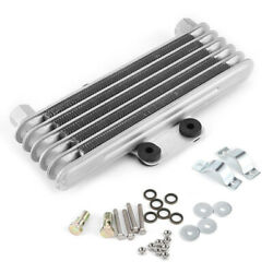 Motorcycle Oil Cooler 5 Row Silver Engine Oil Cooler Cooling Radiator Universal