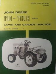John Deere 110 Round Fender Garden Tractor And Snowblower Owner And Parts 2 Manuals