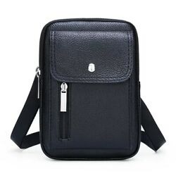Crossbody Men Bag Male Leather Bags Solid Casual Business Office Mobile Phone $26.63