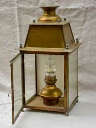 19th Century French Wall Sconce Lantern With Original Oil Lamp Fitting - Yellow