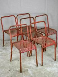 6 Red Outdoor Garden Chairs - Malaval France 1950s Perforated Metal