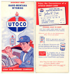 Vintage 1960 Id/mt/wy Road Map From Utah Oil Refining Co. Utoco