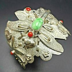 Ray Winner Dragonfly Cuff Bracelet Sterling Silver Carico Lake Turquoise Coral
