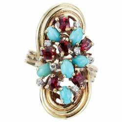 4.08 Carat Turquoise Ruby Diamond Gold Midcentury Cocktail Ring