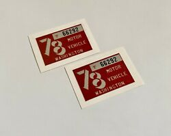 Pair Of 1978 Washington License Plate Tabs Tags For Car/truck - Vintage Classic