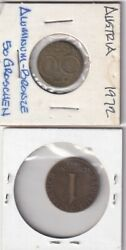 From Collection - 2 Coins From Austria - 50 Groschen And 1 Schilling Both 1972