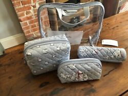 Vera Bradley Iconic 4 Piece Cosmetic Set in Beary Merry #23815 P61 NWT MSRP $70 $35.00