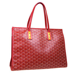 Goyard Marquises Hand Tote Bag Purse Red Brown White Wooden Pvc Leather Ak46402