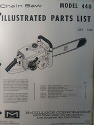 Mcculloch 440 Chain Saw Parts Manual Chainsaw Gasoline Engine 2-cycle 1963