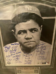 Babe Ruth Framed New York Yankees Lithograph 23 Hof's Autographed Steiner Coa