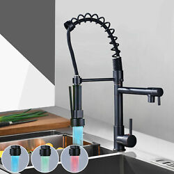 Led Oil Rubbed Bronze Kitchen Sink Faucet Spring 360°pull Down Sprayer Mixer Tap