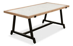48andrdquo Long Coffee Table Rubber Wood White Marble Natural And Antique Black Finish