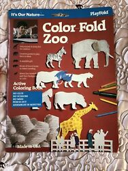 New Active Coloring Book Color Fold Punch Out Zoo Kit PlayFold