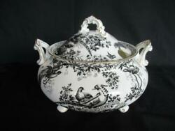 Royal Crown Derby Black Aves A1310 Pattern Soup Or Vegetabletureen And Cover - New