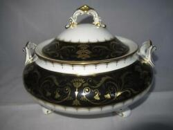 Royal Crown Derby Darley Abbey Black A1350 Pattern Covered Vegetable Dish