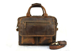 Mens Office Briefcase Bag Messenger 17 In Laptop Satchel Buffalo Leather Bags $109.99