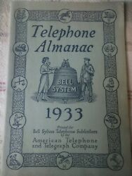 1933 Bell System Telephone Almanac By American Telephone And Telegraph Co. Atandt