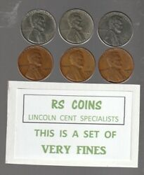 1943 / 1943d / 1943s / 1944 / 1944d / 1944s 6 Coin Very Fine Lincoln Cent Set