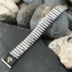 Rare 1950s Foster Stainless Steel Masonic Emblem Nos Vintage Watch Band