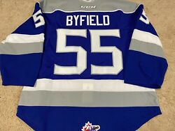 Quinton Byfield 18and03919 Blue Sudbury Wolves La Kings Game Worn Used Jersey W Coa