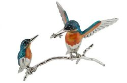 Saturno Sterling Silver And Enamel Kingfisher Branch - 13104