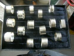 15 Hm Antique Napkin Rings Sterling Silver  290 Grams
