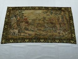 Vintage French Forest Hunting Scene Horse Dog Wall Hanging Tapestry 199x108cm