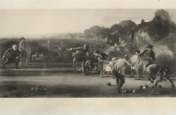 1852 The Bowlers After George Harvey, First Edition Lawn Bowling Print