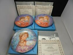 3 Edwin Knowles Edna Hibel Mother Day Collector Plates 1984, 2 1985 Complete