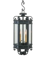 10 Lanterns Hand Forged Iron Bound In Clear Seeded Glass