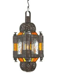 12.5 Scioscia Morocco Lantern W/ Amber And Clear Seeded Glass