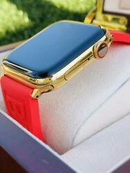 Custom 24k Gold Plated 44mm Apple Watch Series 6 Breitling Rubber Red Deployment