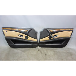 2008-2010 Bmw E60 E61 5-series Front Interior Door Panels Natural Brown Leather