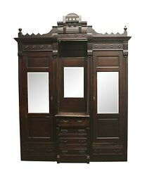 1880s Victorian Built In Walnut Armoire With Dresser And Mirrors