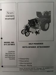 Sears Garden Tractor 3-point 8 Hp Roto Tiller Owner And Parts Manual 917.251883